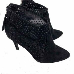 Zara Black Suede Zip-Up Lace Heeled Booties Size 8